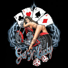 Get Lucky Gambling Aces Dice Motorcycle Biker Pin Up Girl T-Shirt Tee
