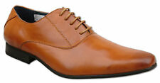Mens Brand New Tan Leather Lined Lace Up Formal Shoes Size 6 7 8 9 10 11 12