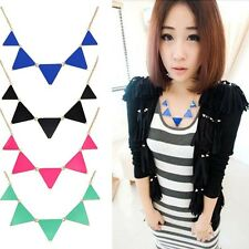 New Vintage Geometric Enamel Bib Collar Choker Black Triangle Pendant Necklace