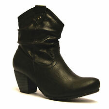 Ladies Womens Mid Block Heel Zip Up Riding Cowboy Biker Ankle Boots Shoes Size