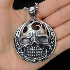 Men's Large Heavy Skull 316L Stainless Steel Biker Pendant