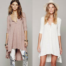 Womens Casual Cotton Prom Party Asymmetrical High Low Club Drippy Beach Dresses