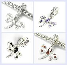 STR Silver Dragonfly w/ Crystal CZ Dangle Insect Bead f/ European Charm Bracelet