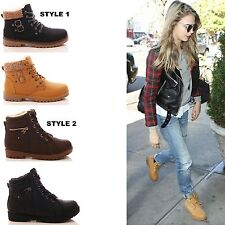 LADIES WOMENS FUR LACE UP ANKLE BOOTS WINTER WARM HI TOP CASUAL SHOES SIZE