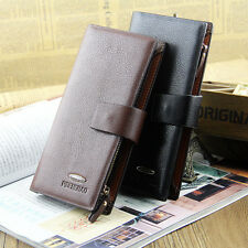 2015 Men's Leather Long Clutch Wallets Brand Bifold Change Purse Organizer