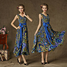 Sexy Women Boho Long Maxi Evening Party Dress Beach Printing Dresses Chiffon