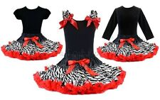 Rockstar Zebra Red Tutu Pettiskirt Outfit 2Pc Birthday Pageant Party *NWT* 1-10Y