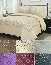 3Pc Embroidery Bed Quilt / Bed Spread Queen - King Size Brand New