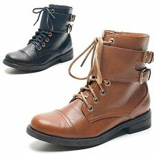 New Womens Ladies Lace Up Flat Army Girls Ankle Boots Zip Detail Military Shoes