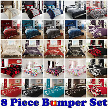 8PC Bumper Set Duvet Cover with Pillowcase Fitted Sheet Curtain Double and King
