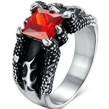 Size 9-14 Ruby Stainless Steel Ring Biker Dragon Claw Punk Hiphop Retro Vintage