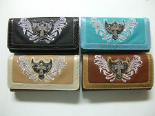 Clutch Western Cross Wings Embroidery Rhinestones Envelop Purse Pick Color