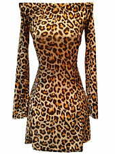 Leopard Print Strapless Dress Long Sleeve Cocktail Evening Party Women Sexy Hot