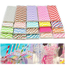 25 pcs Biodegradable Paper Striped Drinking Straws For Birthday Wedding Party
