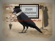 Black Crow Bird Private Investigations Fantasy Home Decor Matted Picture A737