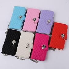 Luxury Leather Wallet Stand Flip Wrist Band Case Cover for iphone series phones