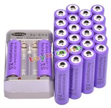 24 pcs 2A AA 1.2V Ni-MH 3000mAh Purple Color Rechargeable Battery + Charger