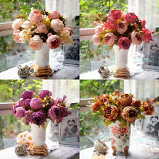 Artificial 1 Bouquet Peony Fake Leaf Silk Flowers Wedding Home Party Decoration