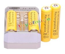 4pcs AA 3000mAh 1.2V Yellow Ni-MH Rechargeable Battery for MP3 Camera +Charger