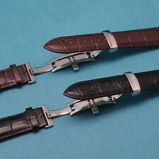 Croco Leather Watch Band with Push Button Butterfly Clasp for All 19 or 21mm