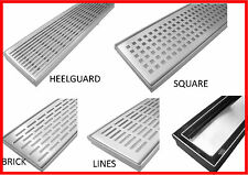 STAINLESS STEEL LINEAR FLOOR GRATE WASTE DRAIN SMART TILE INSERT OR STANDARD TOP