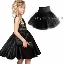 CHILDREN'S BLACK  IVORY WHITE NET PETTICOAT AGES 4-13 YEARS