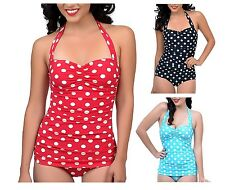 Beautiful polka dot spotted vintage swimming costume one piece swimsuit