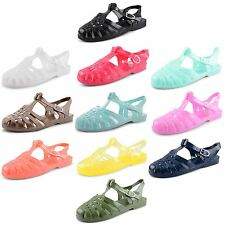 Womens Ladies Flat Heel Summer Beach Holiday Retro Shoes Jelly Sandals Size UK