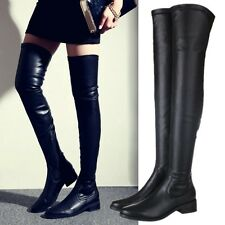 Size 5-9 Womens Black Thigh High Over the Knee Boots Flats Oxfords Leather Shoes