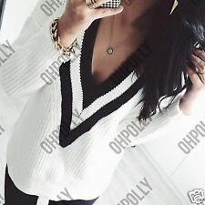 Women Jumper Top Bodycon Knit Black White Stripe V Neck Long Sleeve Ladies Dress