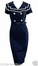 Dress Sailor Vintage Rockabilly Nautical 50s Pinup Party Swing S Retro Blue Vtg