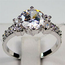 Sz6-10 Jewelry Chic White Sapphire Engagement Ring Womens 10KT White Gold Filled