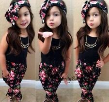 3PCs GIRLS Baby Toddler Clothes T-shirt + Floral Pants + Hairband Set Outfits
