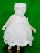Baby Girl's Christening/Baptism Short-Sleeve Dress>White>Bonnet>Cape>Sizes XS-XL