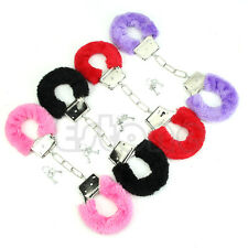 Soft Stylish Metal Adult Hen Night Party Game Sexy Gift Furry Fuzzy Handcuffs