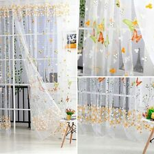 Butterfly Floral Tulle Voile Window Curtain Balcony Sheer Panel Scarf Valances
