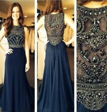 Fast Shipping Long Navy Blue Prom Dresses A Line Beaded Evening Dress To Party