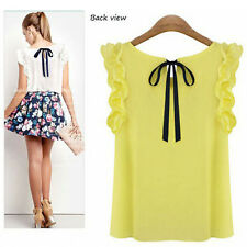 Korean Fashion Womens Loose Chiffon Tee Tops Short Sleeve Shirt Casual Blouse