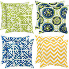 Outdoor Accent Pillow 2 Set Lot Patio Furniture Cushion Green Yellow Blue Throw