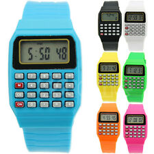 Silicone Date Electronic Multi-Purpose Keypad Wrist Calculator Children Watch