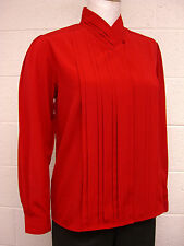 Missy Pleated Neck & Bodice Button Long Slv BLOUSE- RED,WHITE,BLACK,IVORY,GOLD,
