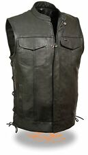 Men's SOA Leather Vest w/ Side Lace, Zipper/Snap Front and 2 Inside Gun Pockets