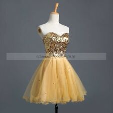 Cheap Gold Short Cocktail Dresses Prom Wedding Party Evening Gown in Stock
