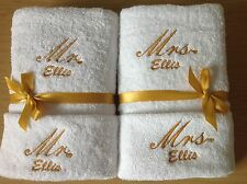 Personalised wedding gift towel set gold bride & groom unique gift Mr & Mrs