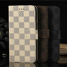 Luxury Deluxe PU Leather Grid Wallet Flip Stand Case Cover for Various Phones