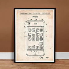 IPHONE US PATENT PRINT POSTER APPLE STEVE JOBS CELL SMART PHONE IOS GIFT SIRI