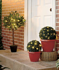 Outdoor Garden Lighted Potted Artificial Fig Tree Boxwood Topiary Plants Décor
