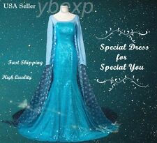 Beautiful Frozen Adult Queen Princess Elsa Dress Costume Cosplay Party Dress
