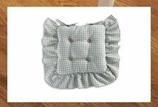 Set Of Two Country Plaid Check Ruffled Kitchen Chair Cushion Blue Decor
