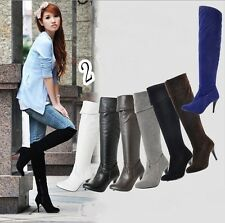 New Arrival Women Zipper Up Shoes 8CM High Heels Knee High Boots Size4-12.5